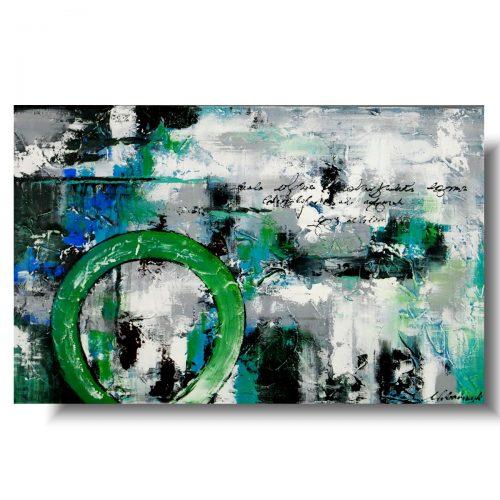 Modny obraz abstrakcyjny zielone koło