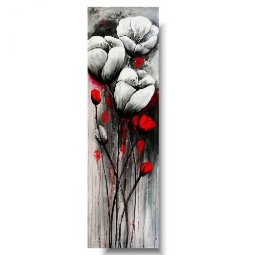 Modny obraz z kwiatami białe maki