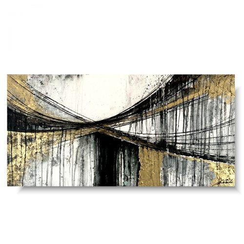 Modny obraz abstrakcja złote chmury