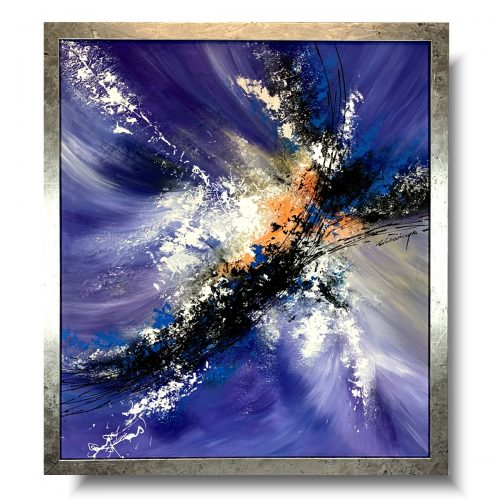 Nowoczesny obraz w ramie abstrakcja fioletowy luksusnaszego autorstwa w eleganckiej, modnej kolorystyce i specjalnie stworzonej ramie