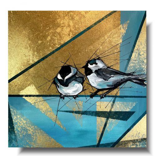 Obraz z ptakami zimowe wróble