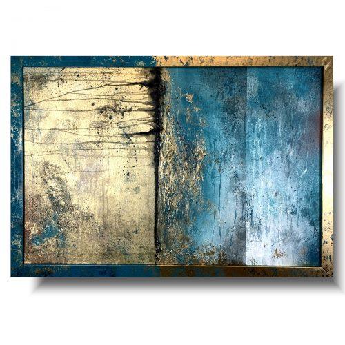 Piękny obraz w ramie abstrakcja obłędny turkus