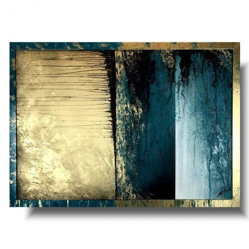 Piękny obraz w ramie abstrakcja obłędny turkus 1
