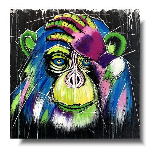 Obraz abstrakcyjny geometryczna małpa