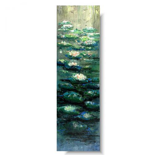Piękny mały obraz zielone nenufary na wodzie