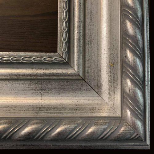 Srebrna klasyczna rama do obrazu drewniana