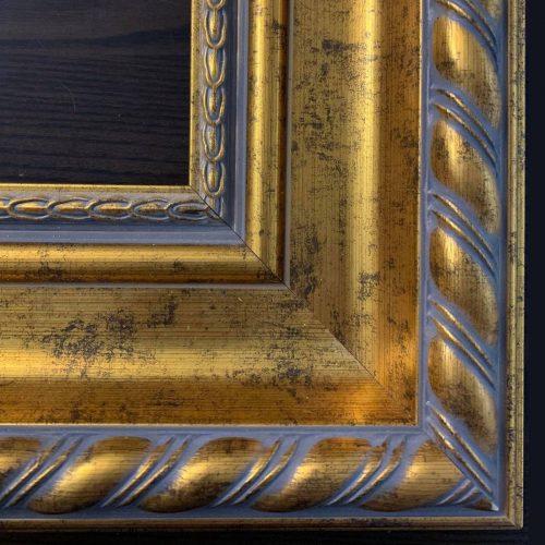 Złota klasyczna rama do obrazu szare przetarcia