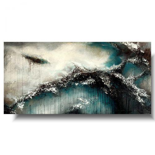 Malowany obraz abstrakcja turkusowa głębia