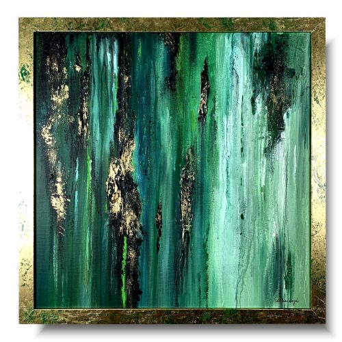 Nowoczesny obraz w ramie abstrakcja w tropikach