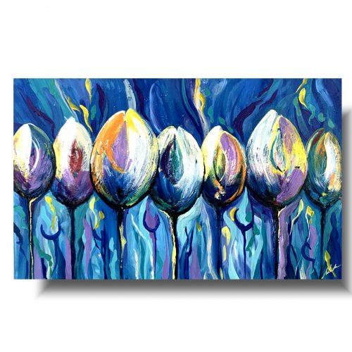 Niebieski obraz niepokorne tulipany