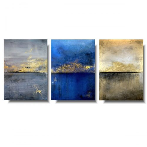 Duży tryptyk abstrakcja na horyzoncie