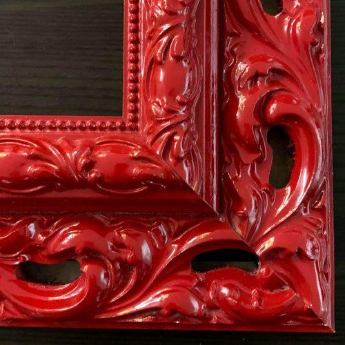 Czerwona rama do obrazu rzeźbiona ornament połysk
