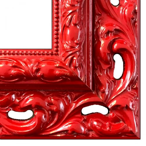 Czerwona rama do obrazu rzeźbiona