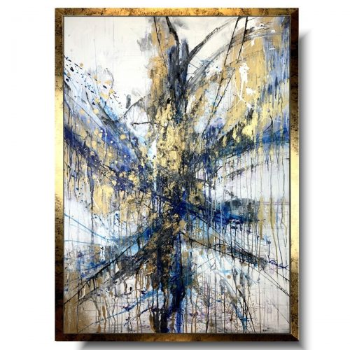 Duży obraz abstrakcja granatowa fantazja