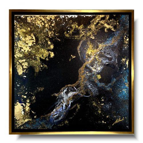 Modny obraz w ramie złoty szlak