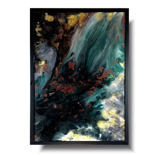 Obraz w ramie mroczny wodospad