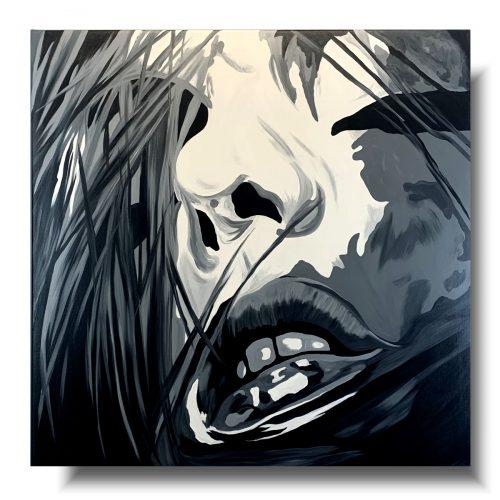 Portret czarno biały sexowne kobiece usta