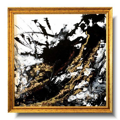 Duży obraz abstrakcja złote złoża