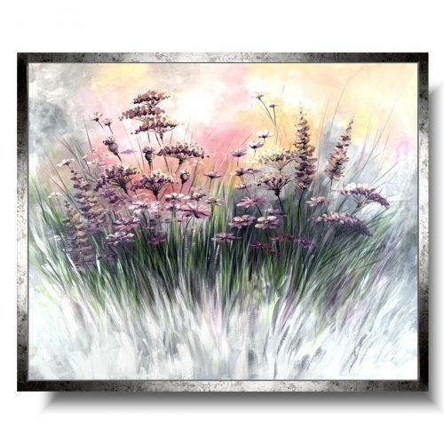 Obraz w kwiaty pastelowa kwiatowa łąka