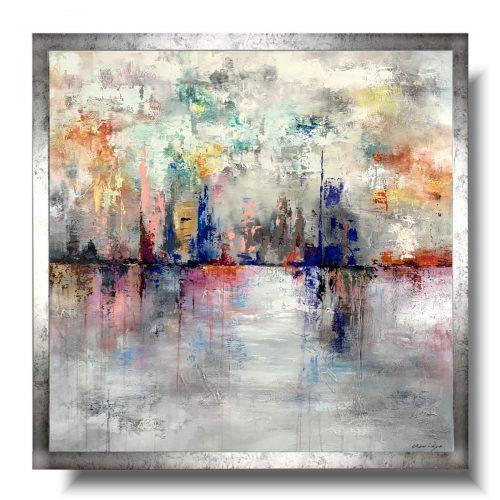 Duża elegancka abstrakcja pastelowe miasto