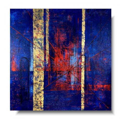 Duży granatowy obraz szkic abstrakcja