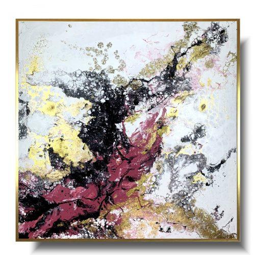 Duży obraz brudny róż abstrakcja